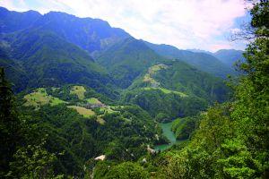Il versante degradante dal Gridone e la Riserva di Palagnedra. A destra, sopra il Lago di Palagnedra, il villaggio di Moneto e più in alto Pian di Barch. A sinistra l'abitato di Palagnedra.
